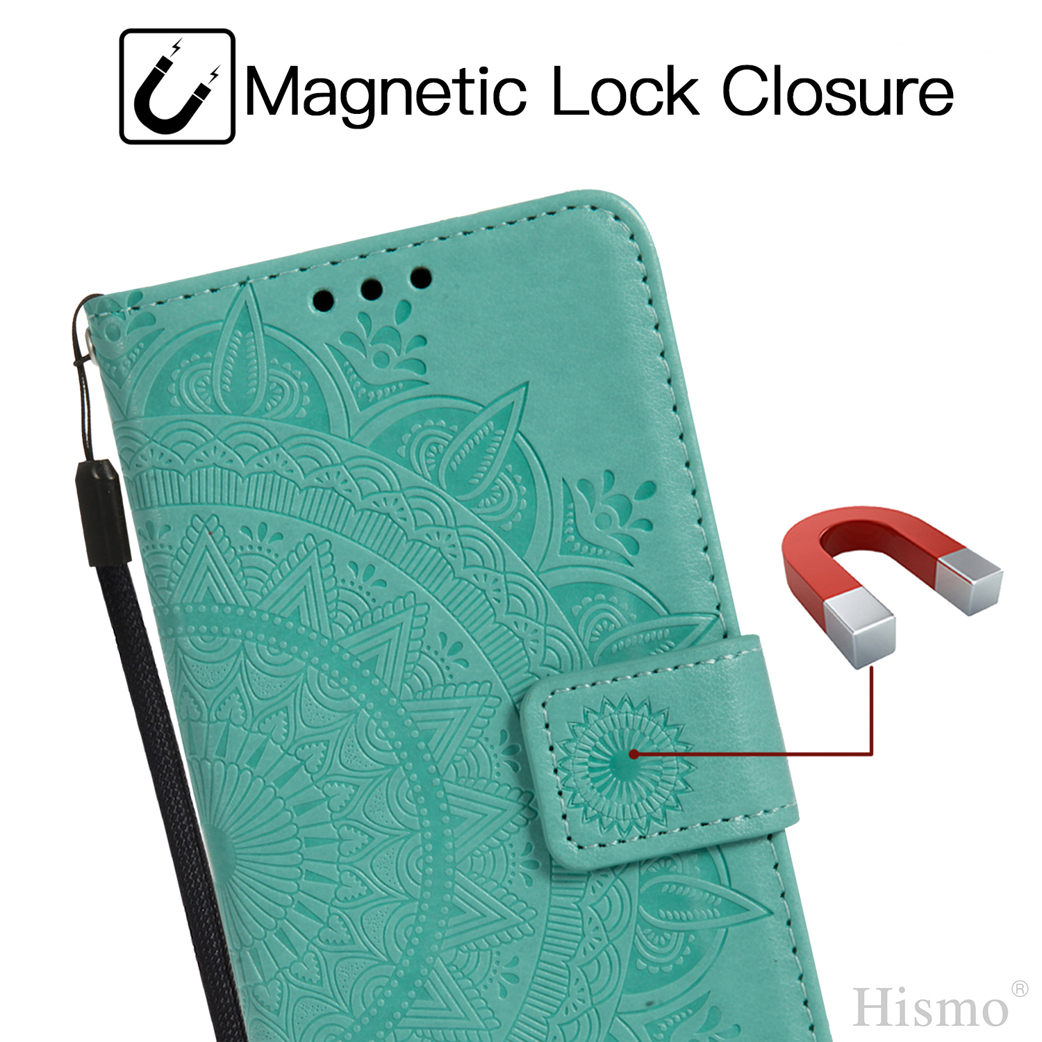 Painted-Strap-Leather-Magnetic-Card-Holder-Stand-Case-Cover-For-Huawei-P20-Lite