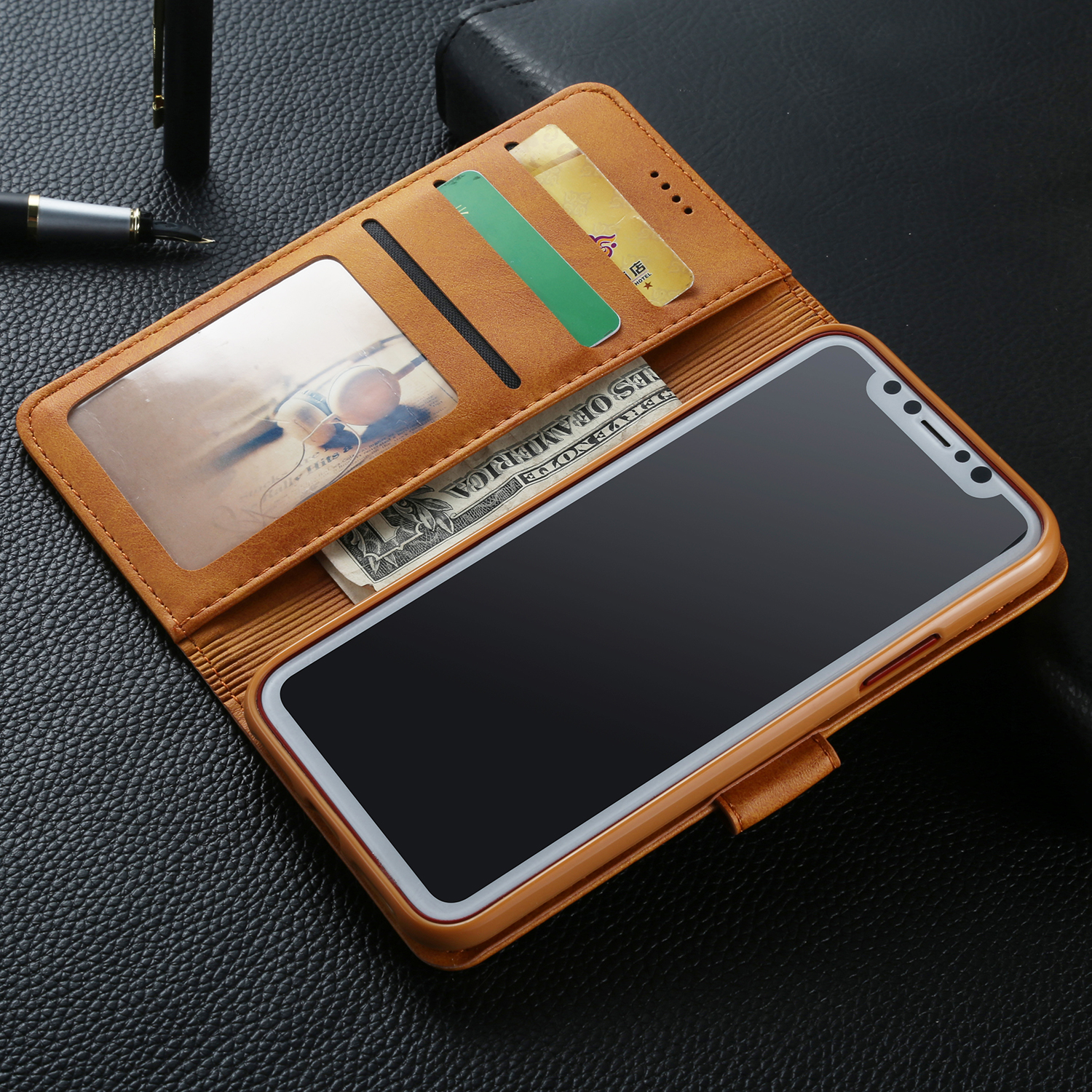 for iphone 8 plus xs max xr retro magnetic leather wallet. Black Bedroom Furniture Sets. Home Design Ideas