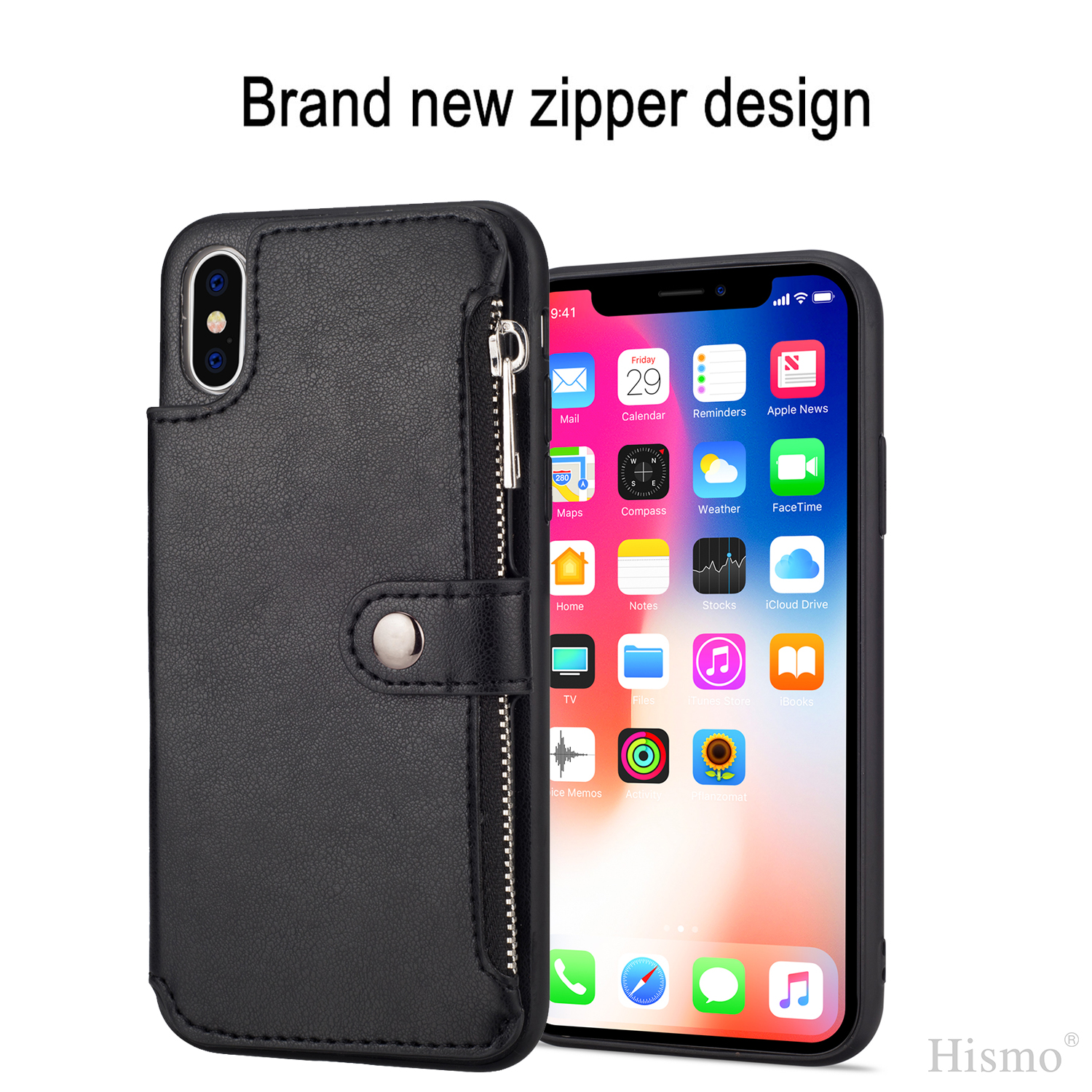 for iphone xs max xr 8 7 leather flip wallet card holder. Black Bedroom Furniture Sets. Home Design Ideas