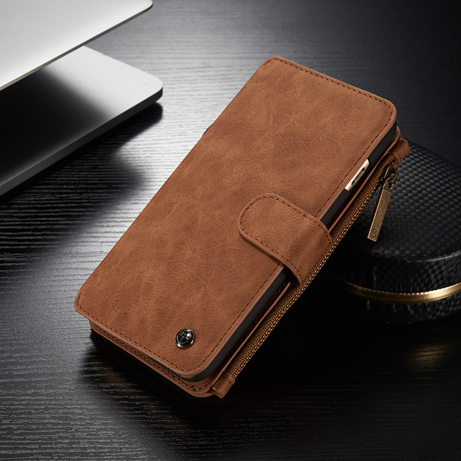 Luxury Magnetic Leather Removable Wallet Zipper Case Cover ...