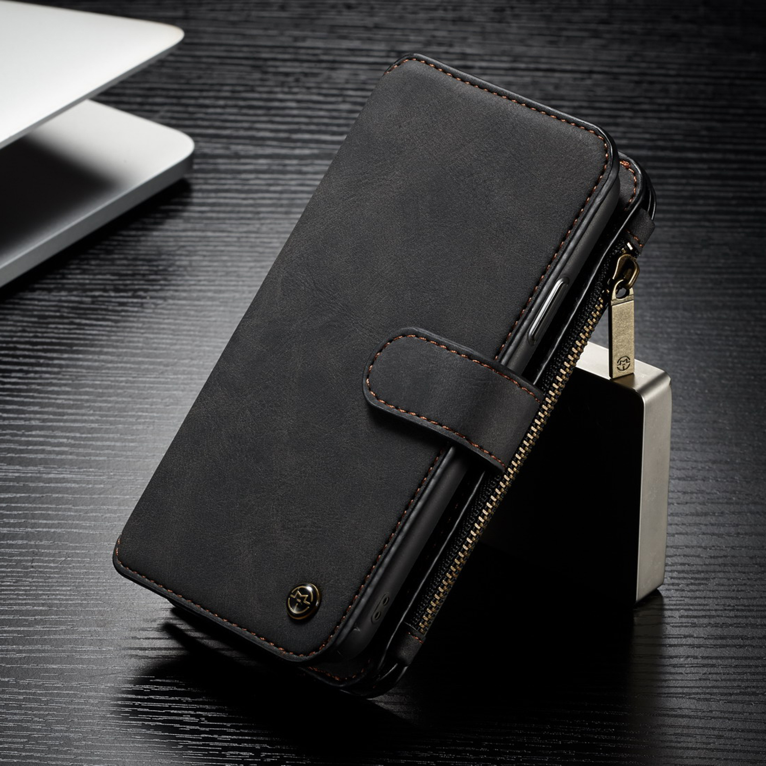Luxury Magnet Leather Removable Wallet Zipper Case Cover