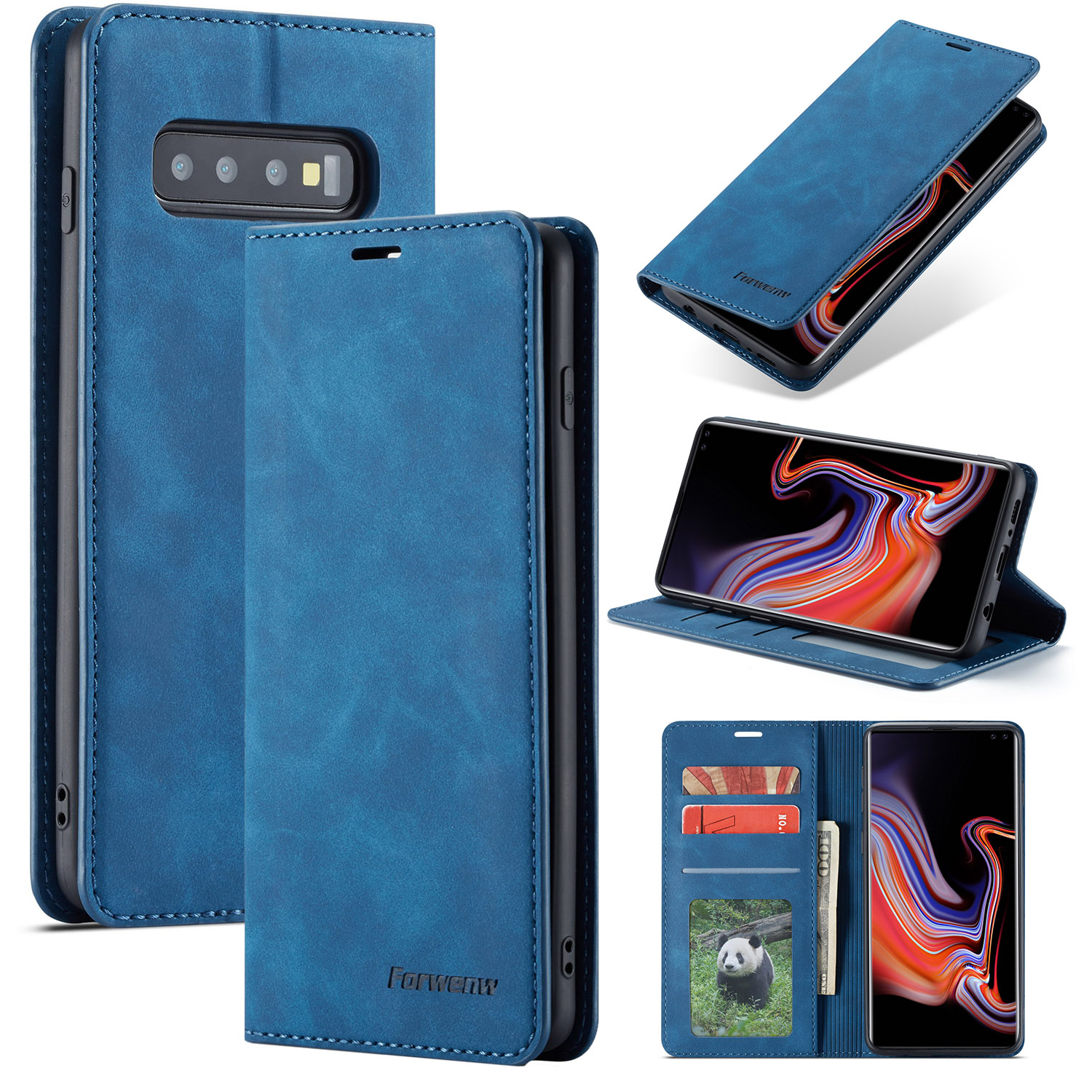 For Samsung Galaxy S10e Blue Magnetic Leather Wallet Case Card Slot Flip Cover Ebay
