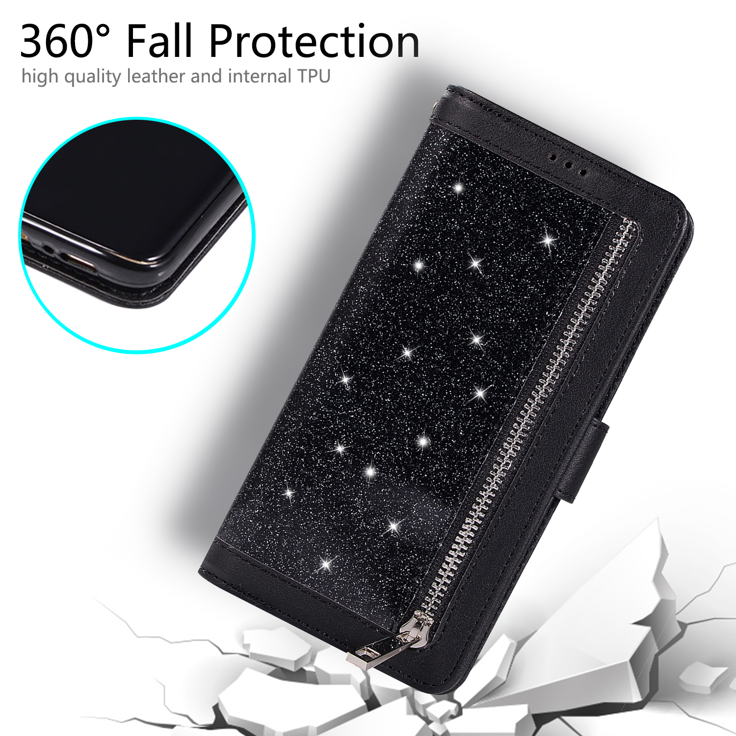For-Samsung-Galaxy-S8-Plus-S7-Edge-Note-8-Bling-Zipper-Leather-Wallet-Case-Cover thumbnail 11