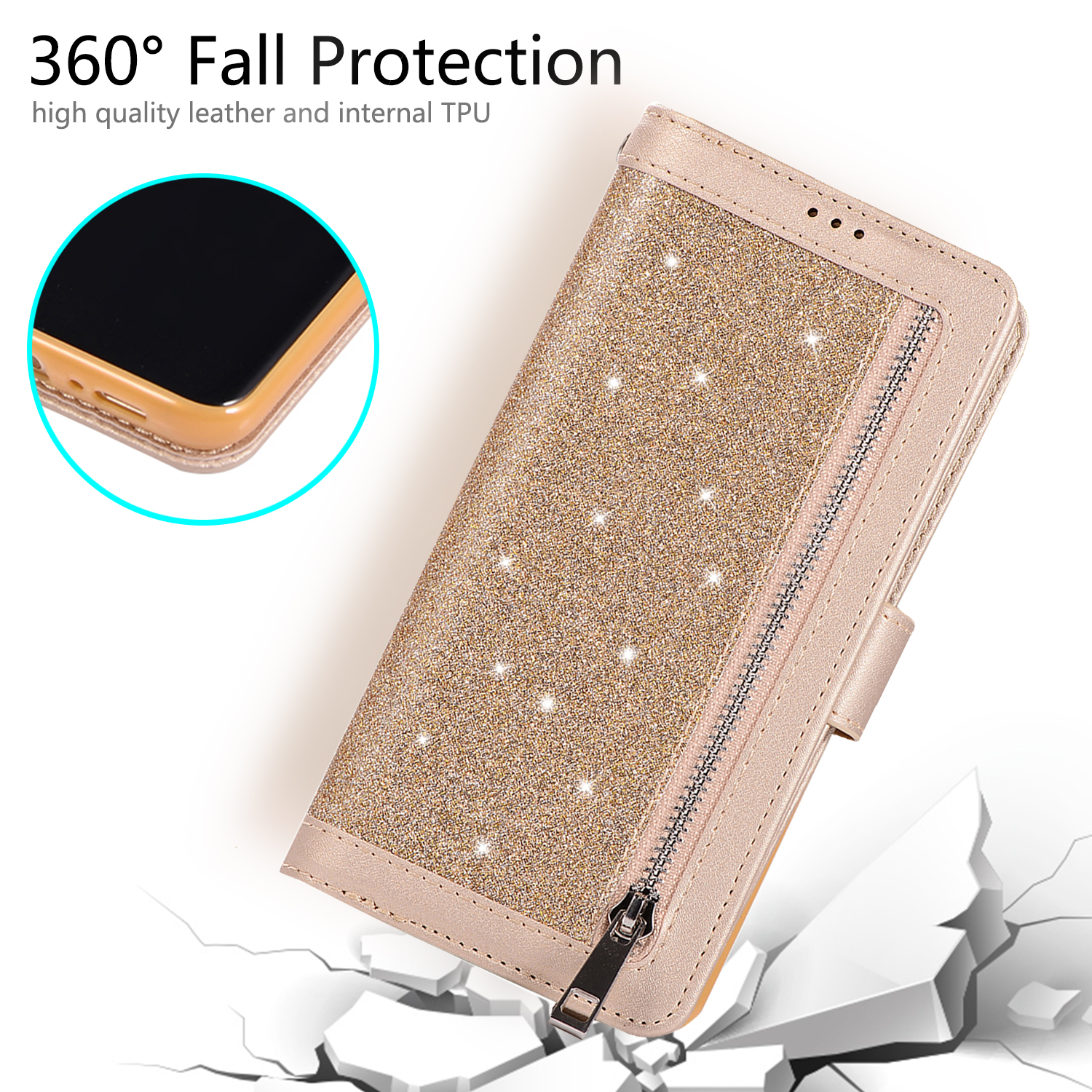 For-Samsung-Galaxy-S8-Plus-S7-Edge-Note-8-Bling-Zipper-Leather-Wallet-Case-Cover thumbnail 18