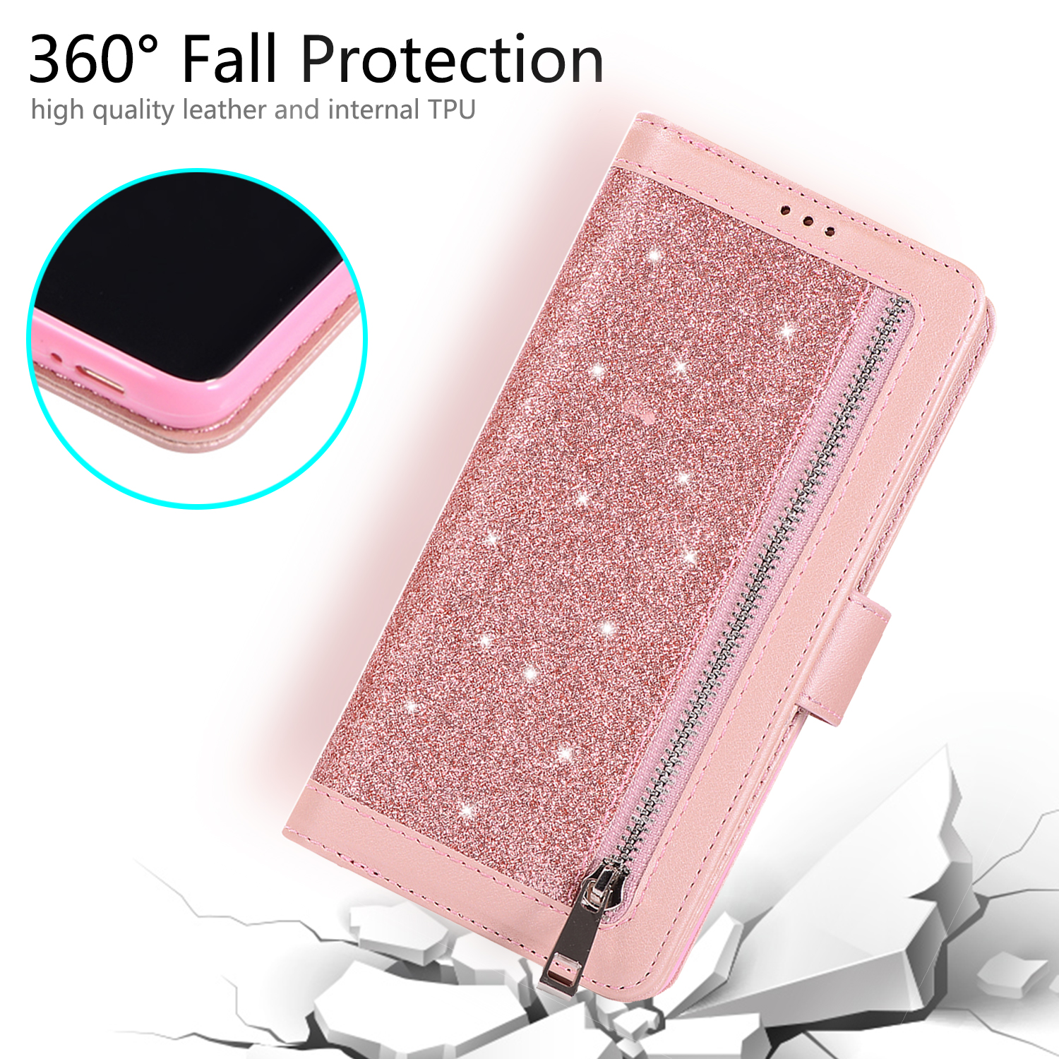 For-Samsung-Galaxy-S8-Plus-S7-Edge-Note-8-Bling-Zipper-Leather-Wallet-Case-Cover thumbnail 25