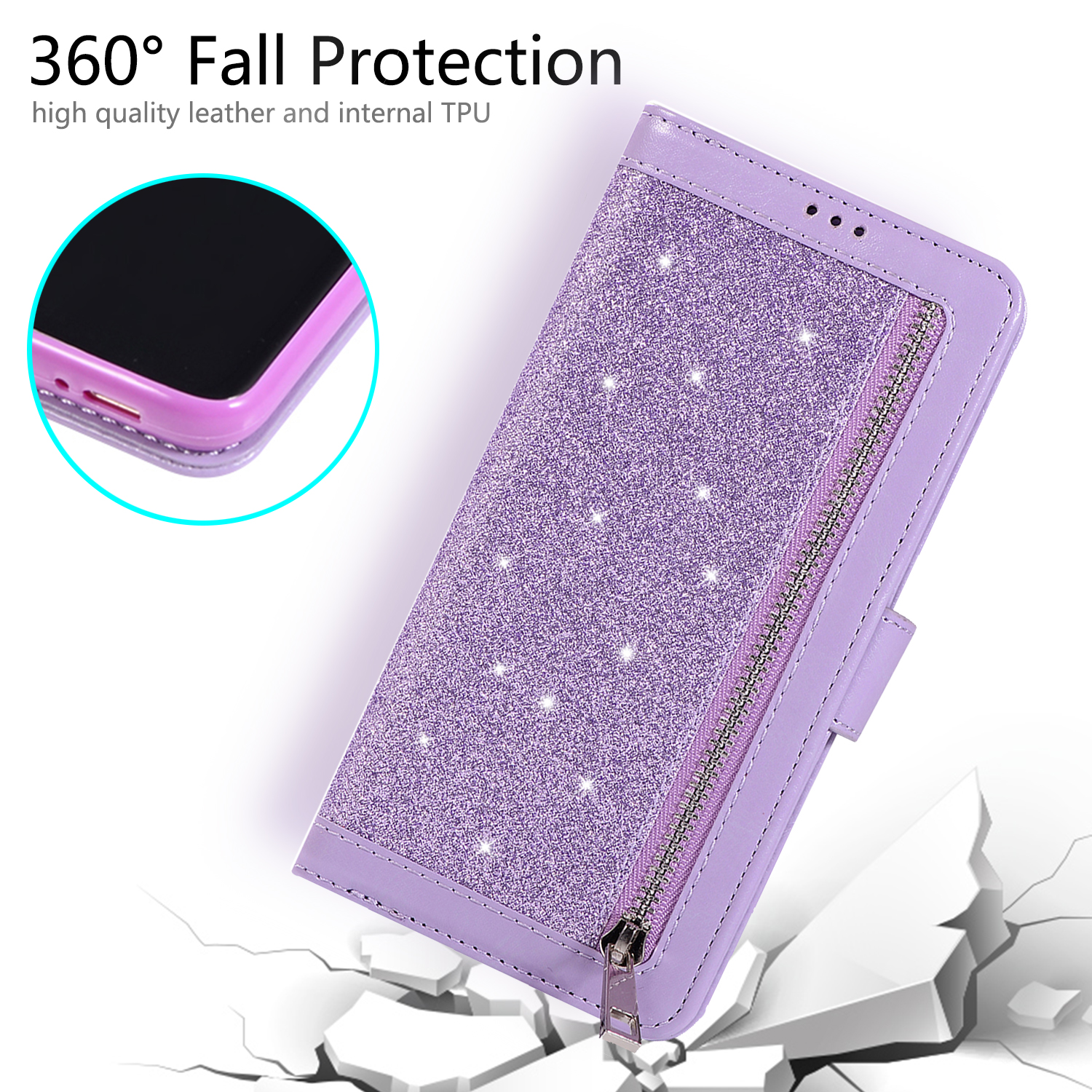 For-Samsung-Galaxy-S8-Plus-S7-Edge-Note-8-Bling-Zipper-Leather-Wallet-Case-Cover thumbnail 32