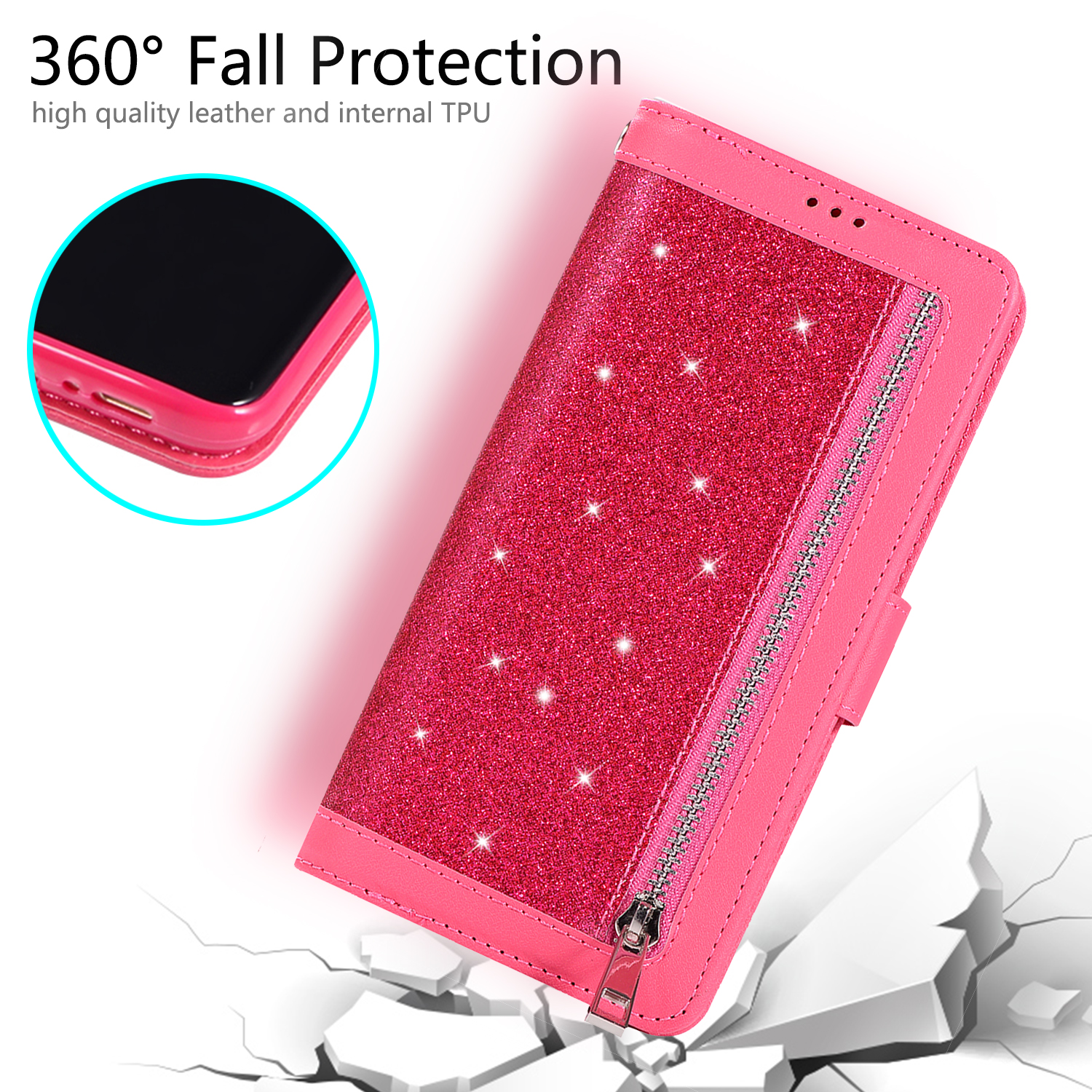 For-Samsung-Galaxy-S8-Plus-S7-Edge-Note-8-Bling-Zipper-Leather-Wallet-Case-Cover thumbnail 39