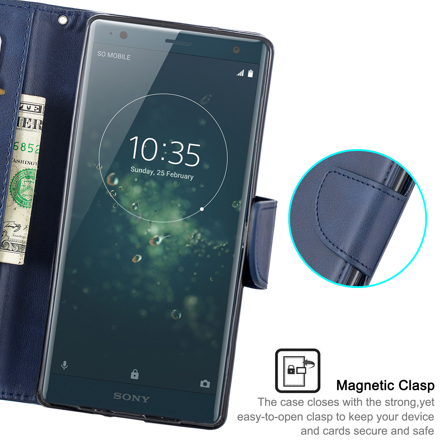 Magnetic-Flip-Card-Wallet-Leather-Phone-Case-For-Sony-Xperia-XA2-Ultra-XZ1-L3-10 thumbnail 23