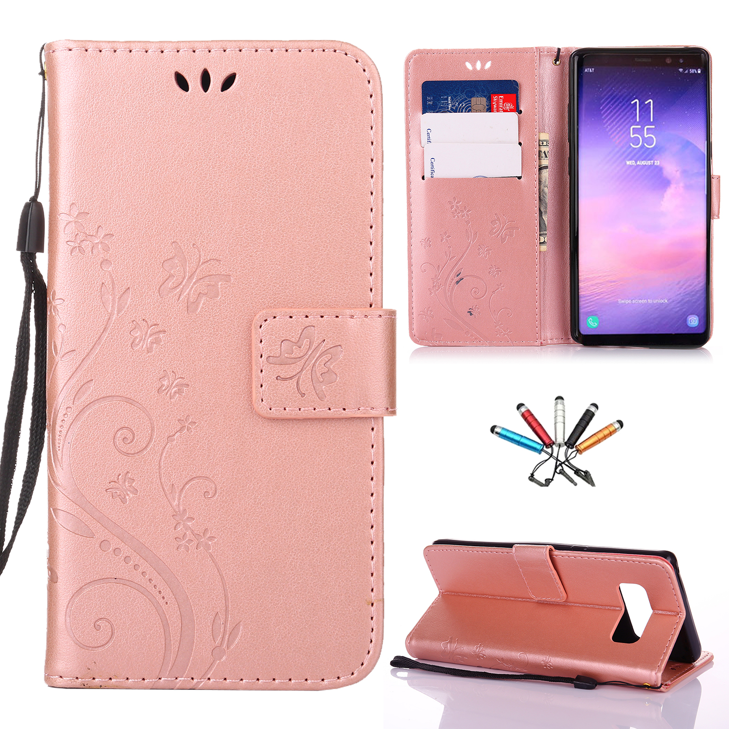 Butterfly-Pattern-PU-Leather-Wallet-Card-Stand-Case-Flip-Cover-For-Samsung-Phone