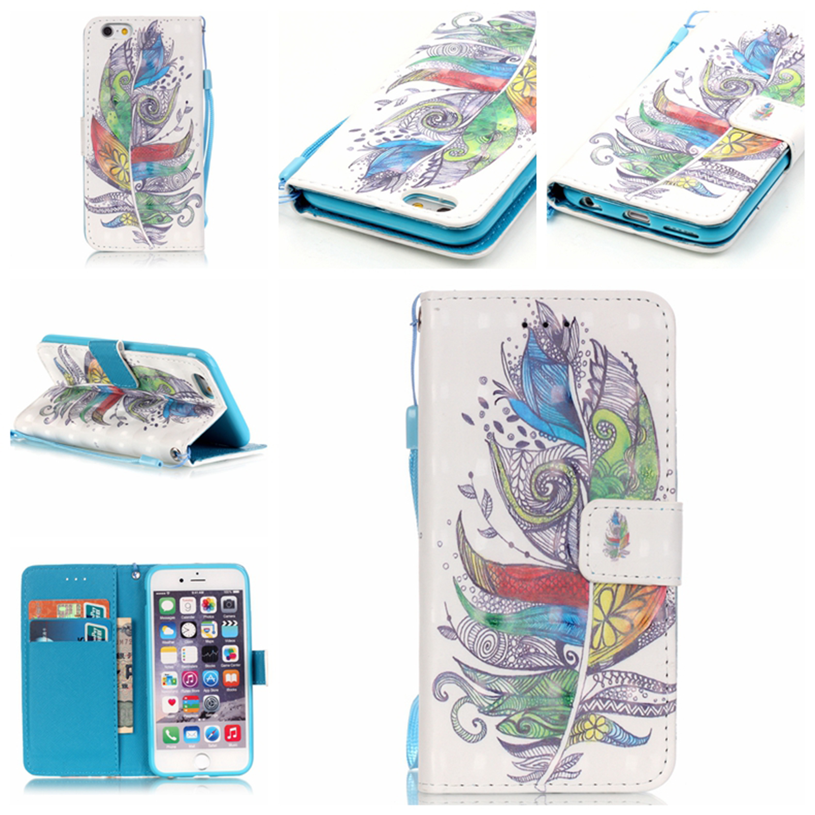 Magnetic-Pattern-Flip-Leather-Wallet-Card-Stand-Case-Cover-For-iPhone-8-7-Plus-X