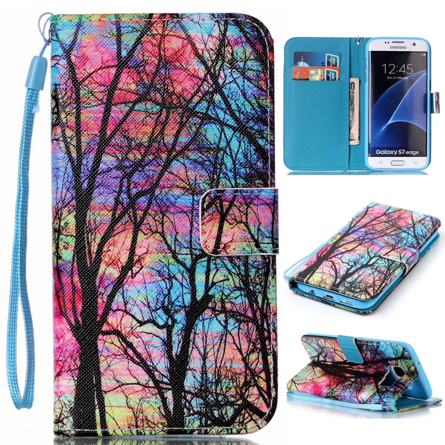 Cute-Pattern-Leather-Flip-Magnetic-Stand-Case-Cover-For-Samsung-Galaxy-S7-S6-S5