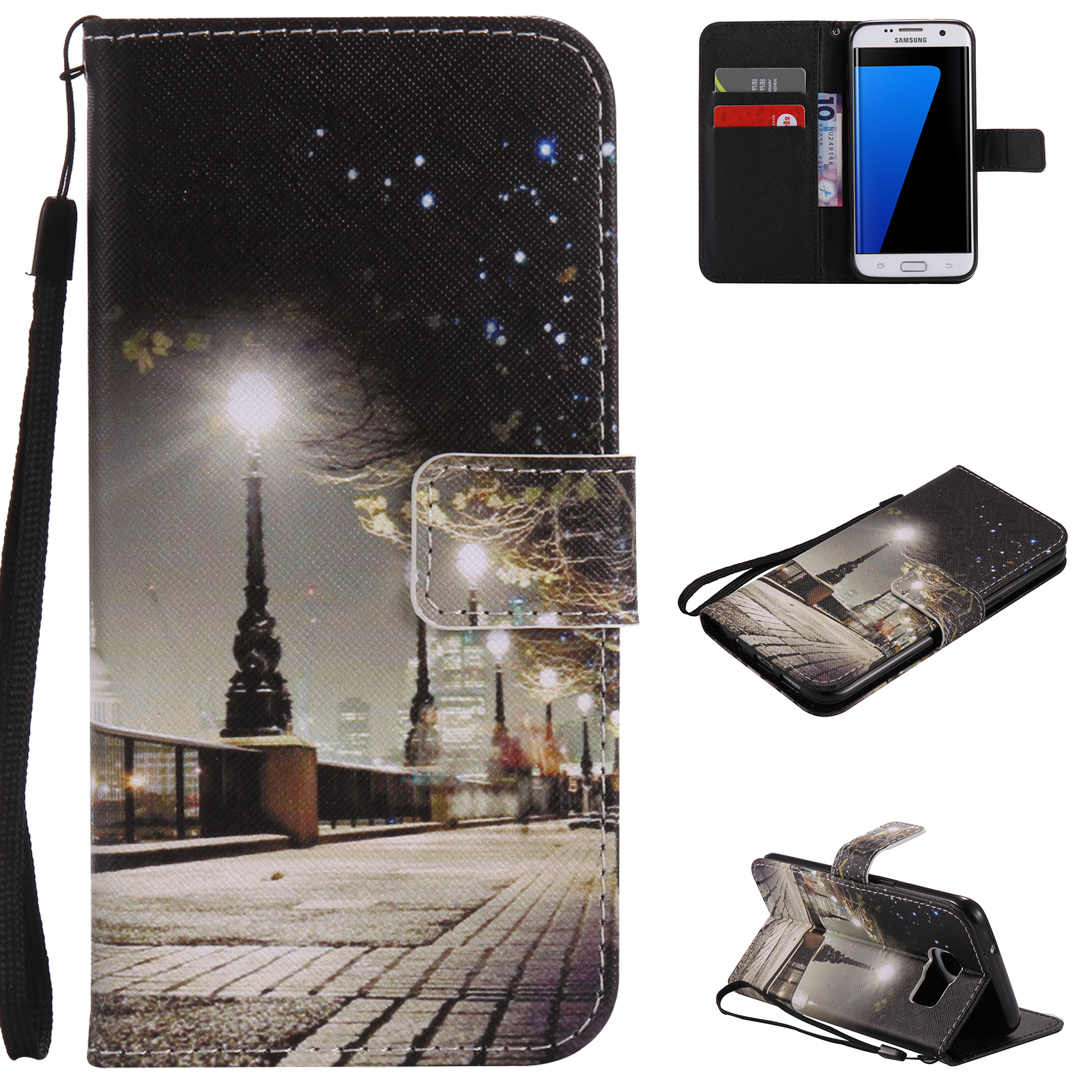 Cute-Cartoon-Wallet-Flip-Stand-Magnetic-Leather-Case-Cover-For-Samsung-S6-S7-S9