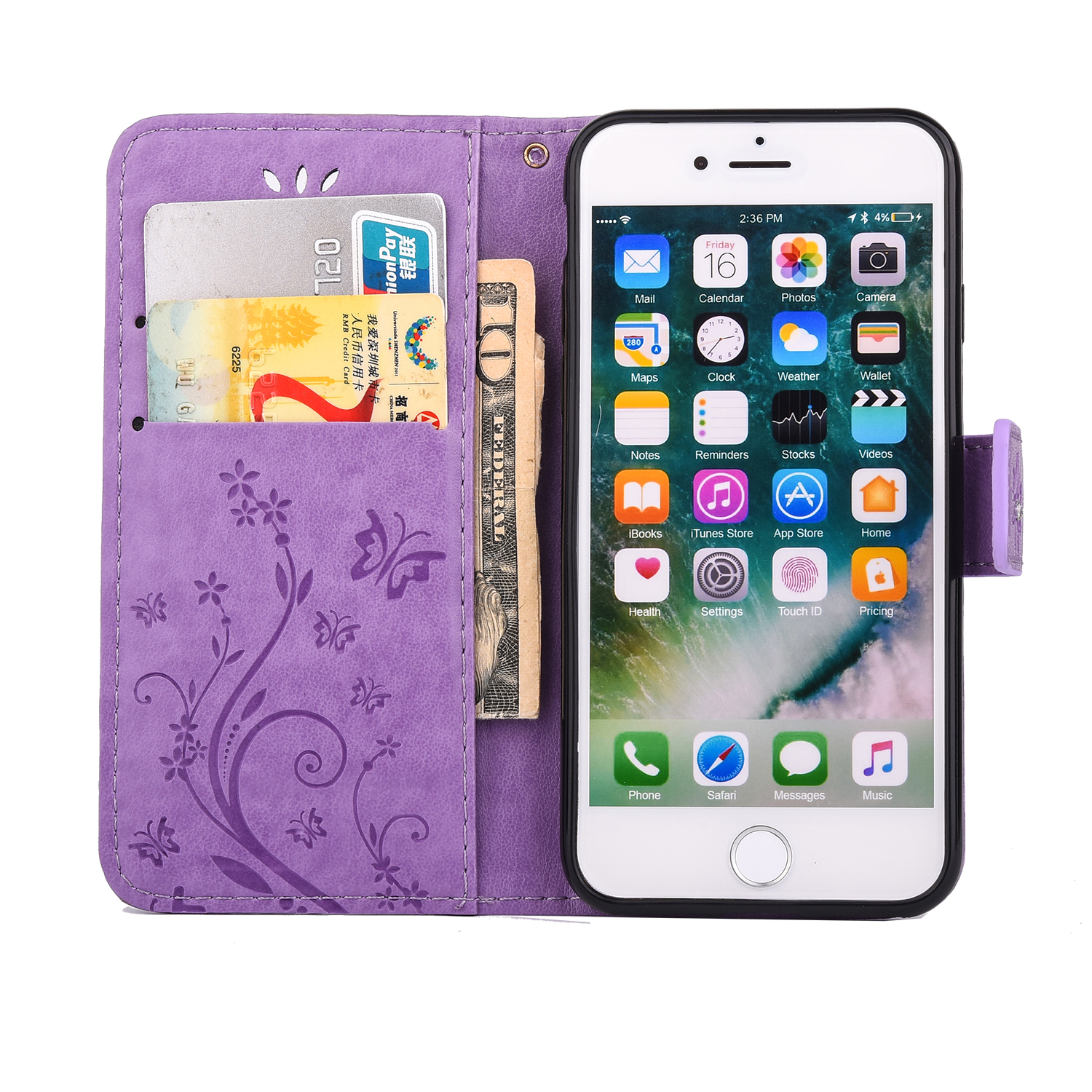 Magnetic-Flip-Leather-Stand-Card-Diamond-Wallet-Case-Cover-For-iPhone-6s-7-Plus