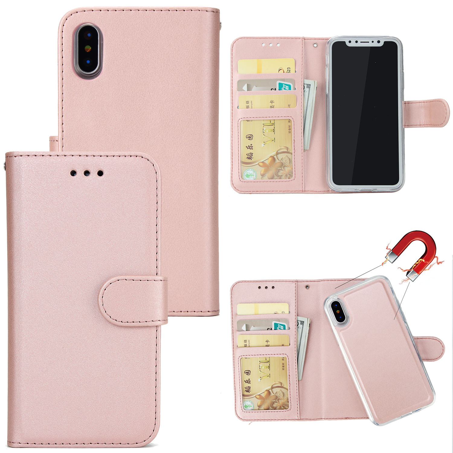 for iphone xs max xr 7 8 detachable movable flip leather. Black Bedroom Furniture Sets. Home Design Ideas
