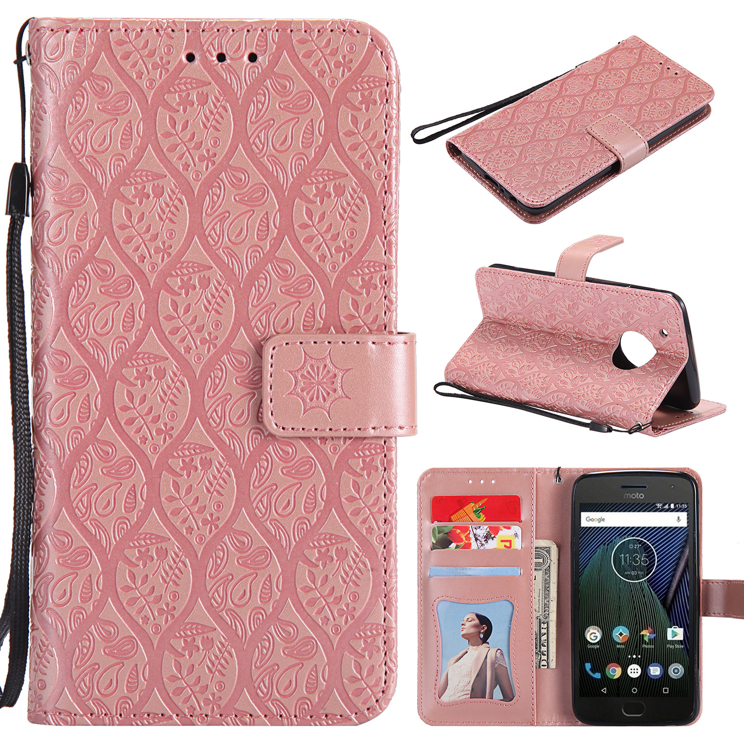 For-Motorola-Moto-X-Style-G5-Plus-Card-Slot-Leather-Strap-Case-Flip-Stand-Cover
