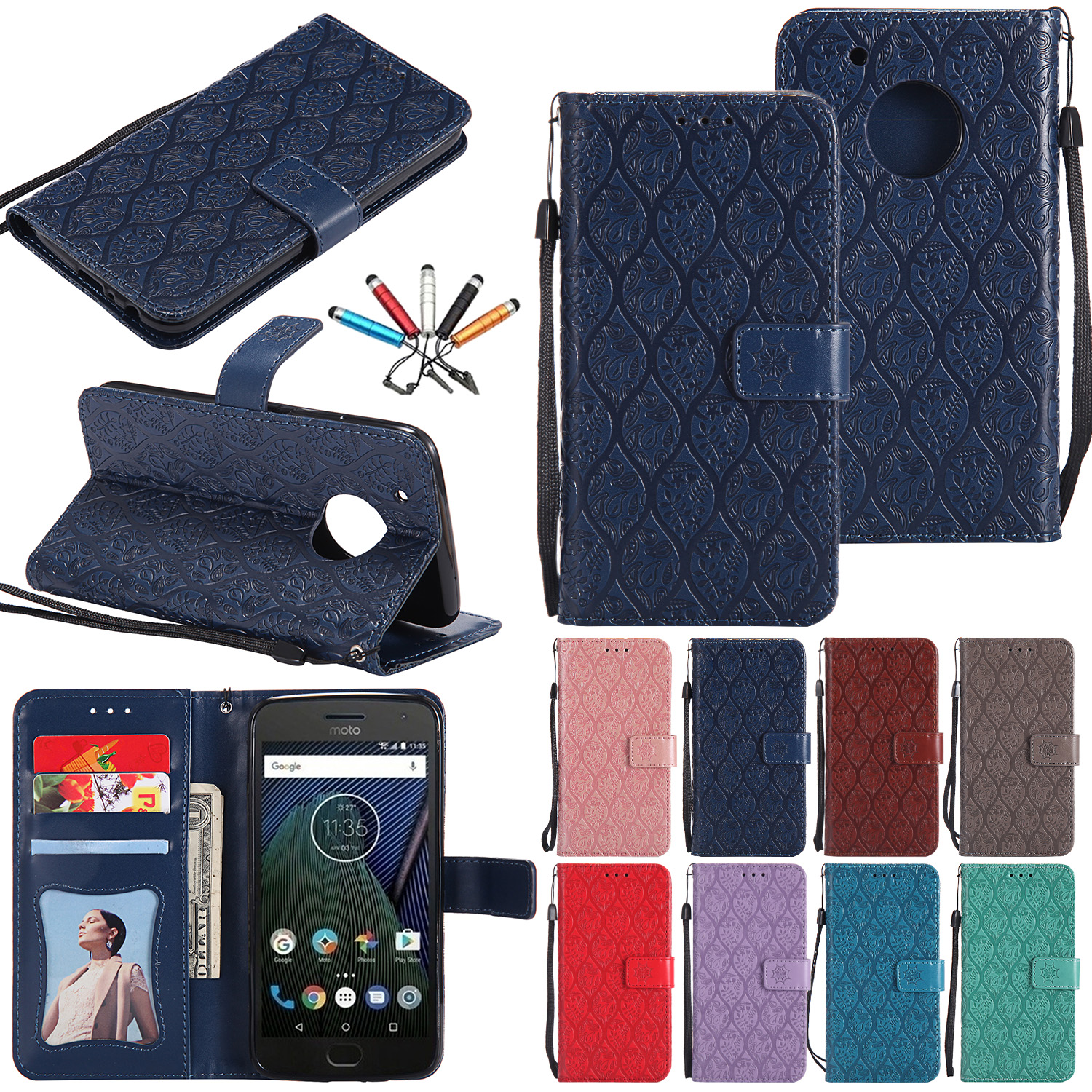 For Motorola Moto X Style/G5 Plus Card Slot Leather Strap Case Flip Stand Cover