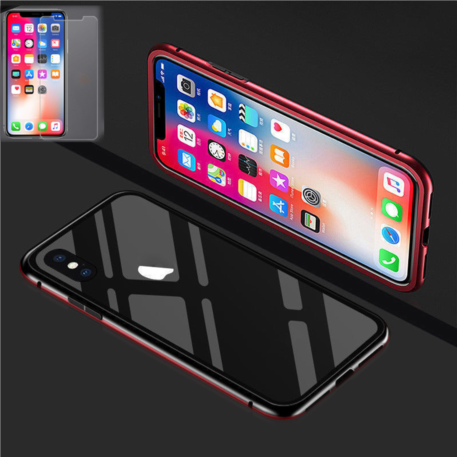 Magnetic-Adsorption-Metal-Case-For-iPhone-8-Plus-XR-XS-Max-Tempered-Glass-Cover