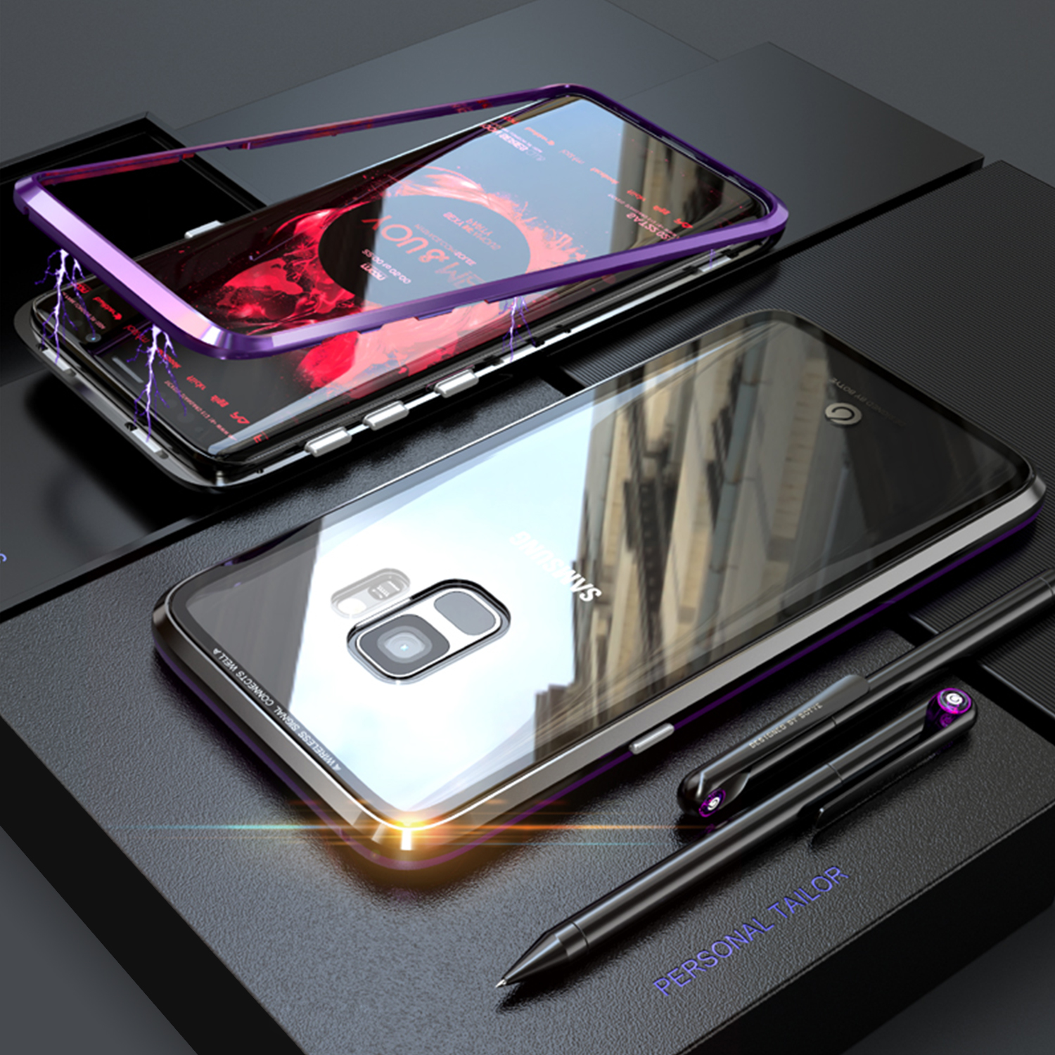 For-Samsung-S9-S9-Luxury-Magnetic-Metal-Bumper-Tempered-Glass-Case-Clear-Cover